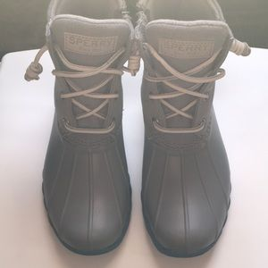 Grey Sperry Boots